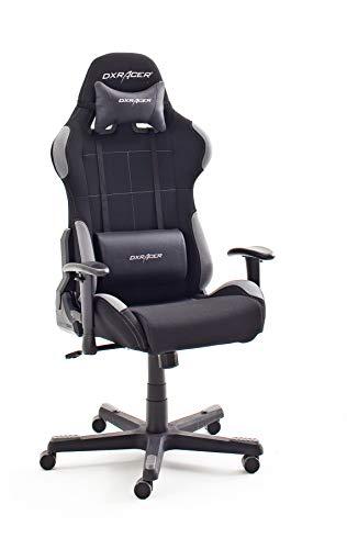 Robas Lund OH/FD01/NG DX Racer 5 Gaming Stuhl/ Büro-/ Schreibtischstuhl, mit Wippfunktion Gamer Stuhl Höhenverstellbarer Drehstuhl PC Stuhl Ergonomischer Chefsessel, schwarz-grau