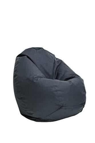 Bruni Sitzsack Classico L in Grau – XL Sitzsack für Erwachsene und Kinder mit Innensack zum Lesen, Abnehmbarer Bezug, lebensmittelechte EPS-Perlen als Bean-Bag-Füllung, aus Deutschland