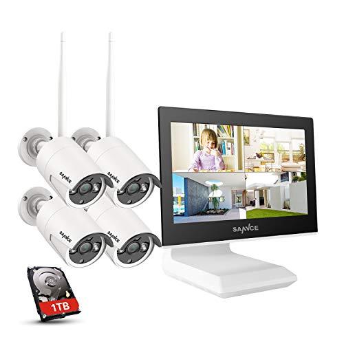 SANNCE Überwachungskamera Set mit Monitor 4CH 5MP NVR und 4x 3MP WiFi Kameras Aussen WLAN Überwachungskamera System mit Bildschirm 1TB Festplatte Personenerkennung,unterstützt Alexa