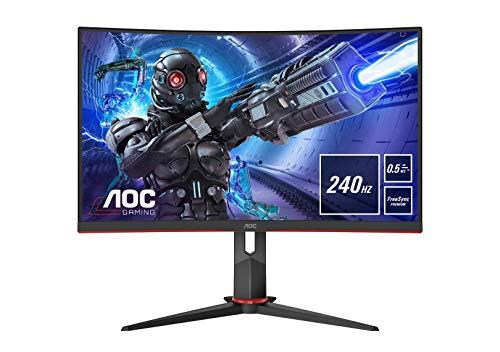 AOC Gaming 27G2ZE 68 cm (27 Zoll) Curved Monitor (FHD, HDMI, DisplayPort, USB Hub, FreeSync, 0,5 ms Reaktionszeit (MPRT), 240 Hz, 1920 x 1080) schwarz/rot