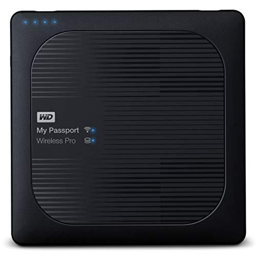WD My Passport Wireless Pro 2TB, drahtlose tragbare externe Festplatte mit USB Power bank, SD 3.0 Kartenleser, SATA, WDBP2P0020BBK-EES