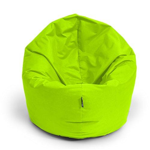 BuBiBag Sitzsack 2-in-1 Funktionen mit Füllung Sitzkissen Bodenkissen Kissen Sessel BeanBag (100 cm Durchmesser, kiwigrün)