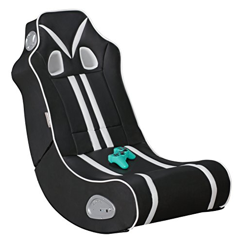 Wohnling® Soundchair Ninja in Schwarz Weiß mit Bluetooth | Musiksessel mit eingebauten Lautsprechern | Multimediasessel für Gamer | 2.1 Soundsystem - Subwoofer | Music Gaming Sessel Rocker Chair