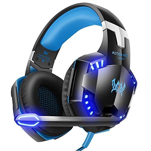 Gaming Headset, RIXOW G2000 Pro Gaming Kopfhörer mit Mikrofon 3.5mm On-Ear Surround Sound Ohrhörer und Einstellbare Bass-Stereo Lautstärkeregelung für PC Laptop