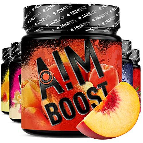 AIM BOOST® | Performance Booster | 400g | 40 Portionen | 23 Wirkstoffe | 247mg Koffein + Tyrosin +Theanin | 8 Vitamine | wenig Zucker | (Ice Tea Peach)