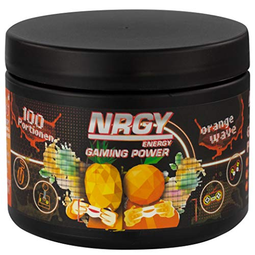 NRGY Gaming Power Pulver - 400g 100 Portionen - Orange Wave Tropical - eSports Energy Drink Pulver Booster für Gamer - Booster für Euer Game für mehr Konzentration