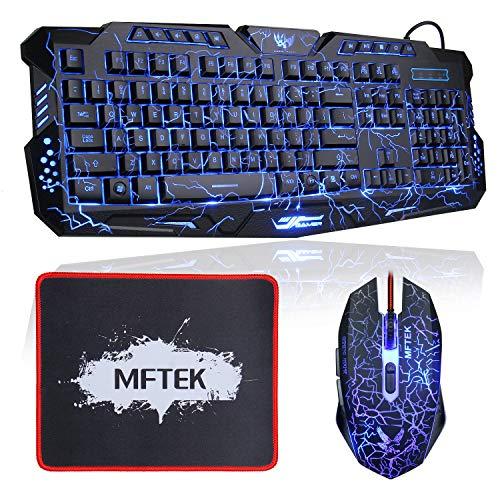 Gaming Tastatur und Maus Set, MFTEK USB Verdrahtete LED 3 Farben (Blau/Rot/Lila) Hinterleuchtet QWERTY Tastatur und 7 Tasten Maus Combo - (US Tastaturlayout, Schwarz)