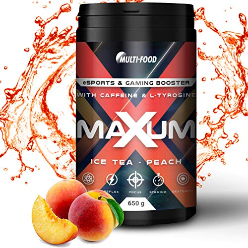 Maxum eSports & Gaming Booster, Play at a level up | 650 g eSports Booster mit 65 Portionen | Made in Germany, Energy Drink mit hochdosiertem Coffein, L-Tyrosin und Isomaltulose (Ice Tea - Peach)