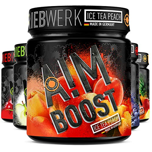 AIM BOOST | Performance Booster | 400g | 40 Portionen | 23 Wirkstoffe | 247mg Koffein + Tyrosin +Theanin | 8 Vitamine | wenig Zucker | (Ice Tea Peach)