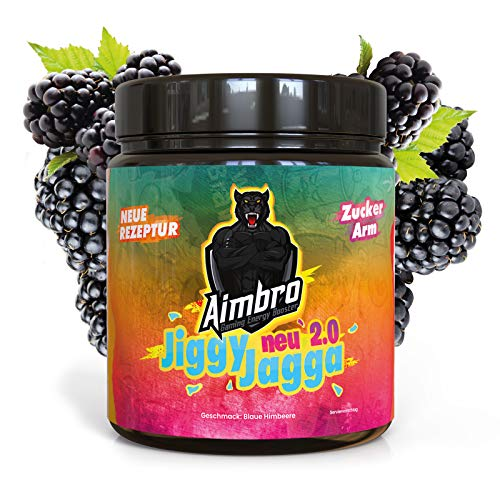 !NEUE REZEPTUR! AimBro JiggyJagga - Gaming Booster Pulver, Energy Drink Alternative/Ersatz, Gaming Supplement, Koffein Booster – 350g Pulver Dose (Geschmack: Blaue Himbeere)